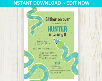 Reptile Party Invitation, Boys Birthday Invitation, EDIT NOW, Reptile Birthday Invitation, Snake Party, Snake Invitation,