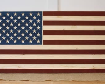 Rustic Carved Wooden American Flag