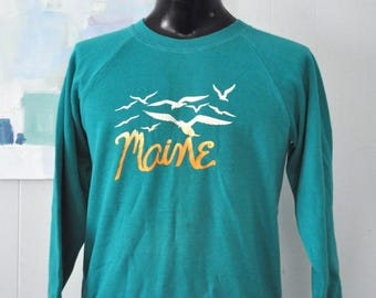 Vintage Maine Sweatshirt Seagulls Ocean New England Science Nature Teal Green MEDIUM