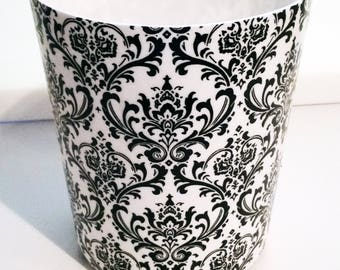 Black and White Damask Wastebasket - Trash Can