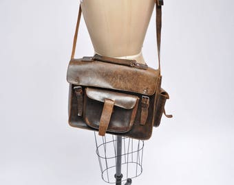 vintage leather satchel leather bag vintage briefcase attache messenger 1970s