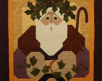 OOAK Primitive Father Christmas Finished Wall Quilt
