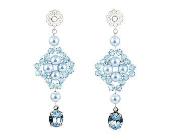 Ginnifer Wedding Earrings, Bridal Earrings, Bridesmaid Earrings, Bridesmaid Jewelry Gift, Bridal Party Jewelry, Crystal Flower Earrings
