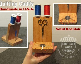 Handmade Red Oak Wooden Quilting Caddy, Sewing Caddy, Scissors Rack, Thread Holder, Magnetic Pin Holder, Wood, Oak with FREE Stork Scissors