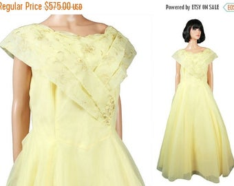 ON SALE 50s Prom Dress XL Vintage Long Yellow Chiffon Gold Embroidery Wedding Gown Free Us Shipping