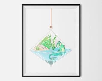 Hippocampus fantasy succulent terrarium whimsical art print artwork kelpie