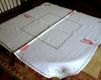 Embroidered Vintage TABLECLOTH Lovely LINEN Tall Red Green Roosters
