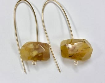12k gold fill large hook earrings with chunky citrine nuggets