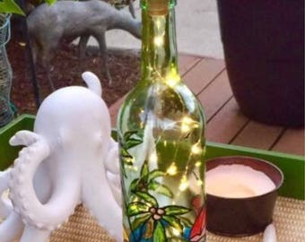 Life's a Beach! Lighted wine bottle