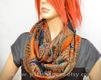 Infinity scarf, Orange Blue Paisley scarf, Orange scarf, Blue scarf, Rust scarf, Infinity scarf