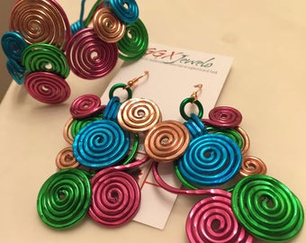 PEACOCKY: Bangin' Beauties Multi Colored hammered aluminum earrings
