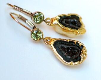 Geode Druzy Earrings | Dark Forest Blue Black | Green Peridot Bezel 14k Gold Filled Leverback Dangles | Birthday | Wedding | Ready to Ship