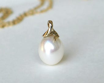 14k Gold Pearl Pendant | Large White Rose Freshwater Oval Drop Pearl | 14k Swirl Pendant Necklace | Anniversary | Wedding | Ready to Ship