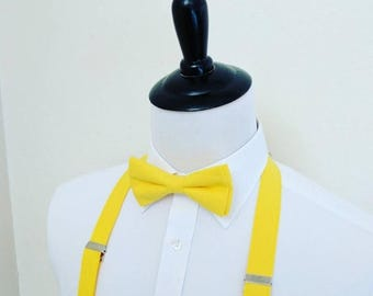 SALE Bright Yellow Bowtie and Suspenders. Men, teen, youth. 4 weeks BEFORE SHIPMENT