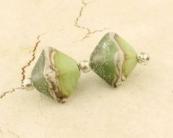 SRA Glass Lampwork Bead Pair, Chunky Crystal Bicone, Green, Gray, Ivory, Silver
