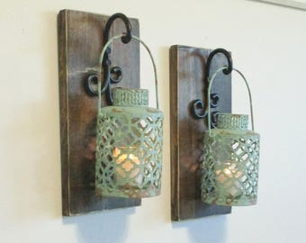 Rustic Turquoise Lanterns Wall Decor/Stained Wood Sconces/Farmhouse Hanging Home Decor