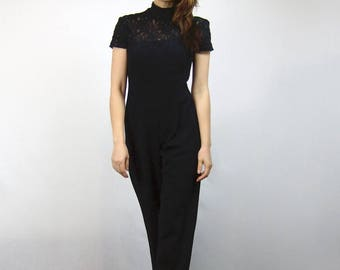 Black Lace Jumpsuit 90s Short Sleeve Sheer One Piece New Years Eve Outfit - Extra Small to Small XS S