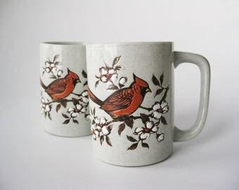 Vintage Pair of Cardinal Bird Mugs, Japan Stoneware Mugs