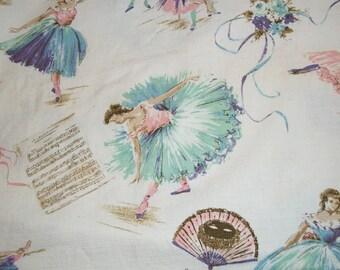 "1940s Vintage Barkcloth Fabric Remnant Pretty Ballerinas 45"" x 23"""