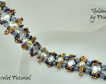 Golden Iris - BP-BR-099-2017-076 - Bracelet Tutorial, 2 hole bead jewelry, beadweaving pattern, beaded bracelet, beadwork tutorial