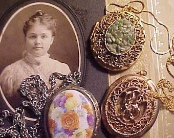 Lot Vintage 70s LOCKET Necklaces Porcelain Victorian Like & Lava Keep Loved Ones Near