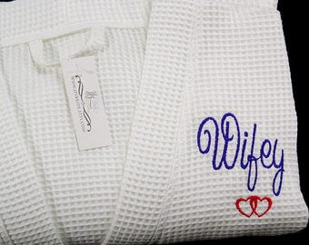 Cotton Anniversary, 2nd Anniversary Gift for her, Cotton Anniversary Gift, Monogrammed Cotton Robe,  Personalized Wifey Robe, jfyBride