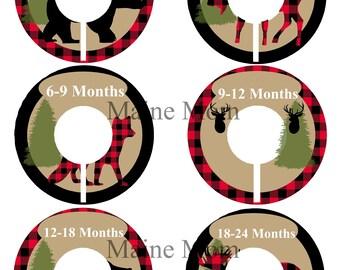 6 LUMBERJACK  Baby Closet Dividers, Baby Boy Shower Gift, Woodland Animal Nursery, Bear, Fox, Deer, Buffalo Plaid Moose, Forest Animals