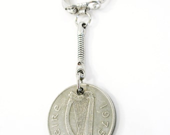 1975 Ireland Coin Fishermens Key chain/keyring-10 Pence Irish Key Fob