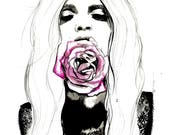 A Rose a Day, print from original watercolor and mixed media fashion illustration by Jessica Durrant