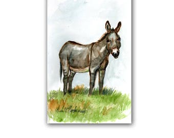 Donkey Burro Art Original Watercolor Painting  LLMartin  Virginia Country Free Shipping USA