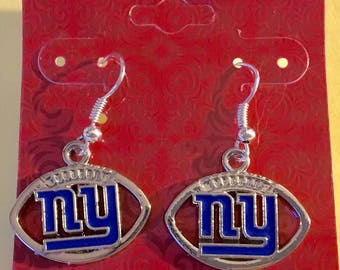 "New York Giants earrings, 1/2 "" dangle,  Ny Giants fans sports jewelry,Valentines day gift, birthday, football jewelry"