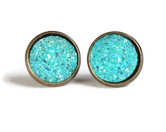 Blue green textured stud earrings - Faux Druzy earrings - Textured earrings - Post earrings - Nickel free - lead free - cadmium free (833)