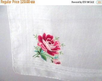 50% OFF EVERYTHING Delicate Beautiful Vintage 1950s 1960s Coral Red Pink Satin Stitched Embroidered Rose Hankie Handkerchief Hanky