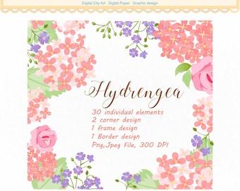 30 Hydrangea Clip Art _ Flowers Clip art, Pink Flower Frame Clipart, floral Clipart, wedding frame Clipart, INSTANT Download, ON SALE