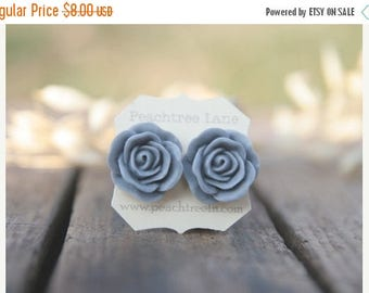 CHRISTMAS in JULY SALE Large Grey Rose Flower Post Earrings // Bridesmaid Gifts // Maid of Honor Gifts