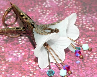 Victorian Lucite Trumpet Flower Earrings - White, pink, turquoise and aqua - Copper Filigree Cone