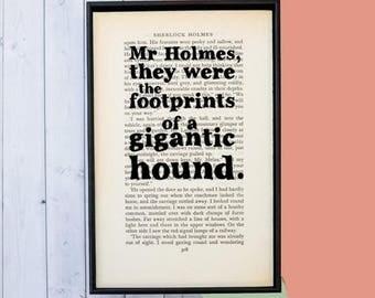 SUMMER SALE Sherlock Holmes - Sherlock Print - Hound of the Baskervilles - Dog Lover Gift - Vintage Book Page - Framed Book Page - Framed Ar
