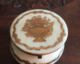 Vintage Ardult trinket box with gold urn