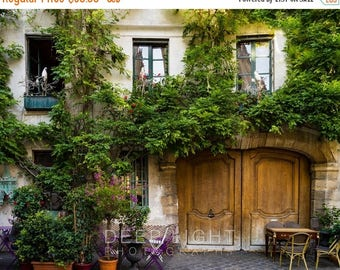 SUMMER SALE-Ends July 5- Paris Bistro Photograph Outdoor cafe Photo Paris Restaurant Paris Street scene Decor Flowers Neutral Wall Art par16