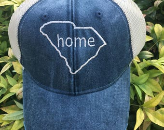 Home State Monogram Baseball Hat, Women's Hat, State Outline Home Cap, Womens Baseball Cap, South Carolina State Hat