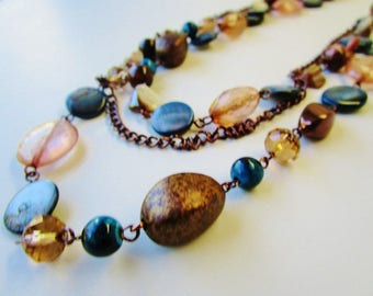 """Vintage Stone Mother Of Pearl Glass Crystal Beads Multi Strand Necklace Belt 33"""" LInked Chains Blues Browns Boho Hippie Coachella Statement"""