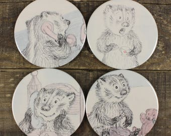 Frances the Badger set of Four Coasters Vintage Kid's Book Recycled Upcycled