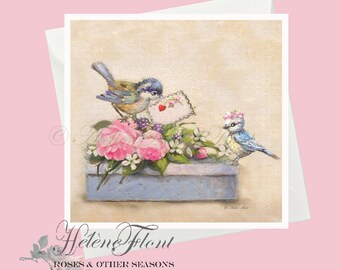 Carte Impression St Valentin Love Cadeau Oiseaux Boite Roses Fiancés Peinture Mariage © Hélène Flont Designs