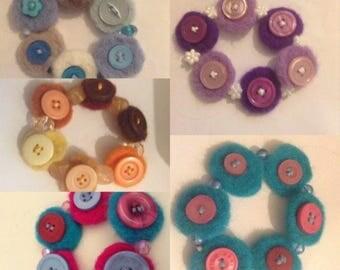 Needle Felted Button Bracelet