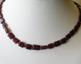 Garnet Necklace, January Birthstone, Garnet Choker