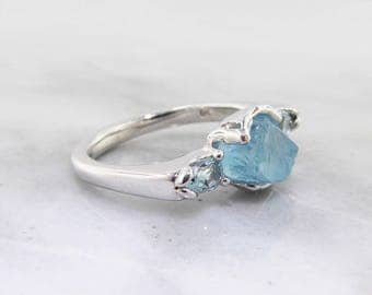 Raw Aquamarine Silver Ring, Gemstone Row