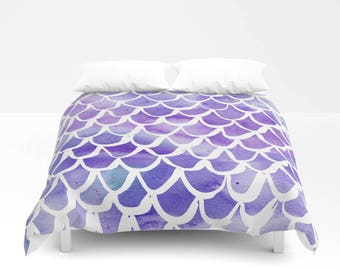 mermaid duvet cover purple watercolor duvet cover mermaid bedding twin xl duvet
