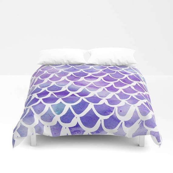 Mermaid Duvet cover - Purple Watercolor Duvet cover - Mermaid bedding - Twin XL duvet - queen duvet cover - king duvet cover - full duvet