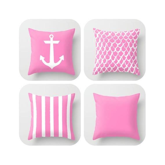Bubblegum Pink Throw Pillow - Mermaid Pillow - Anchor Pillow - Coastal Pillow - Striped Pillow - Pink cushion  Throw Pillow 16 18 20 24 inch
