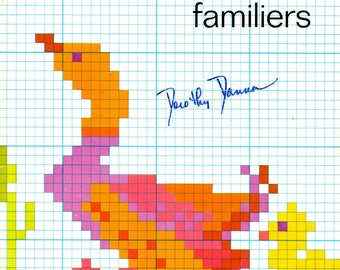 Les Animaux Familiers Turkey Duck Frogs Mushrooms Pigs Chickens Rainbow Hay Wagon Swans Fish Bees Counted Cross Stitch Craft Pattern Leaflet